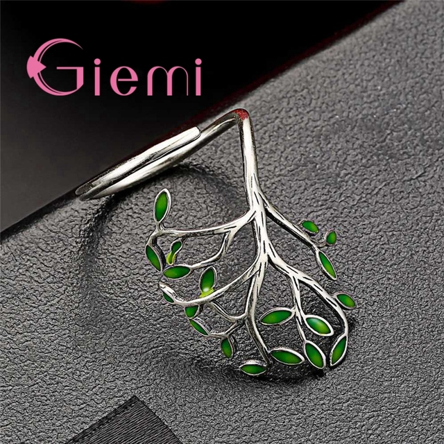 Top Quality Vintage 925 Sterling Silver Ring Women Men Enameled Green Leaves Tree of Life Trendy Party Wedding Jewelry 5