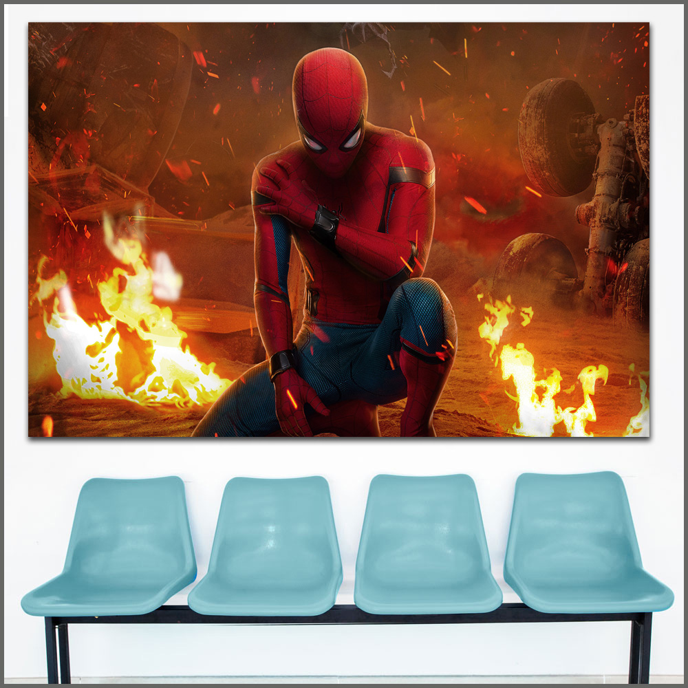 Large size Printing Fire Spiderman hero Homecoming Wall Art Picture Home Decor Living Room Modern Canvas Print No Frames WLONG