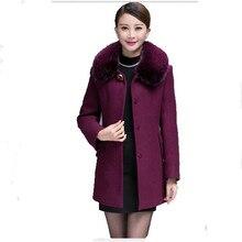 2016 New Winter Fashion Middle-aged Women Woolen Coat Jacket Slim Warm Luxury Fur Double Collar Coat Elegant Woolen Coat A1151