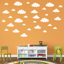 Gran pegatina de nubes para pared, vinilo nube arte de pared para guardería niños habitación infantil, set 31 nubes decoración del hogar pegatina decoración de pared(China)