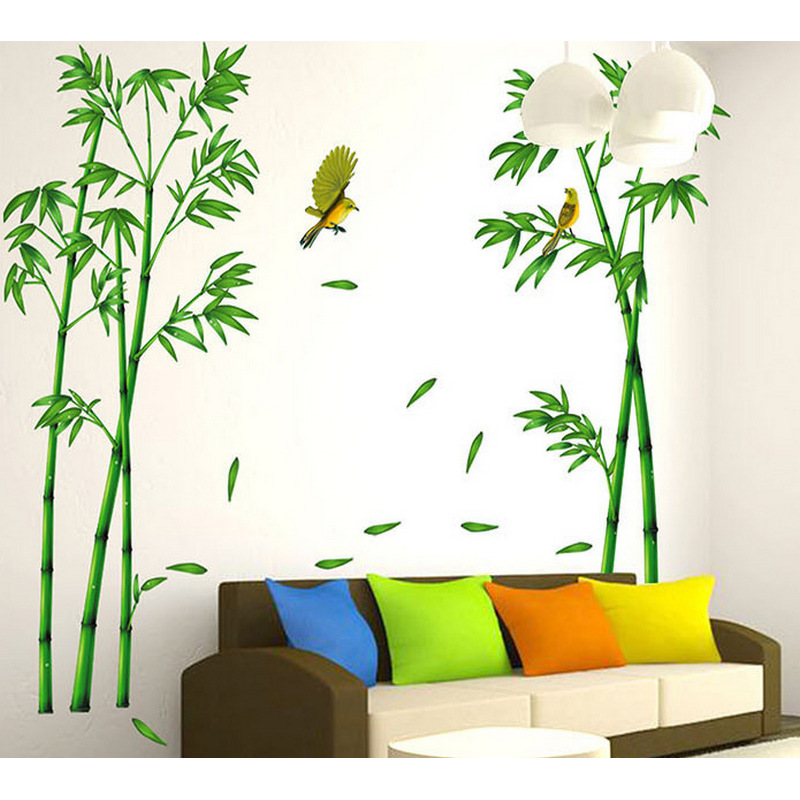 3D Bird Flying Bamboo Wall Stickers For Home Decoration DIY Wall Decor Wallpaper Living Room Sofa TV Back Ground Mural Arts ...