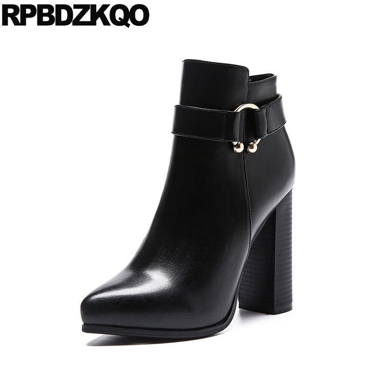Zipper Shoes Metal Short Fashion Booties Embellished Pointed Toe Sexy Black Chunky Ankle Ladies High Heel Women Boots Winter н а курашкина основы фонетики английского языка the essentials of english phonetics учебное пособие
