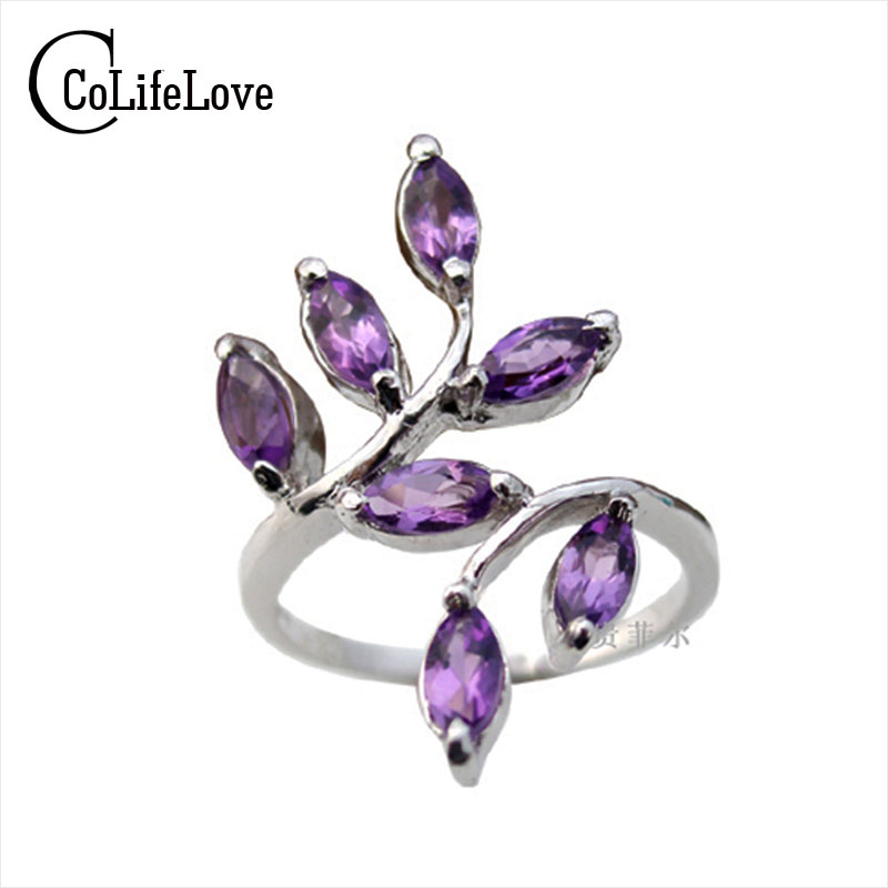 Promotion 925 silver gemstone ring solid sterling silver with 925 stamp natural garnet ring amethyst ring 7 pcs 2.5mm*5mm gems