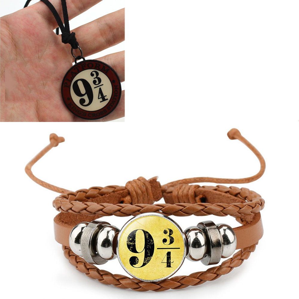 Hot Anime Harry Movie Weaving PU Bracelet Adjustable Wristband Bracelet +Necklace