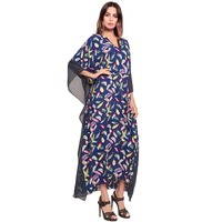 Explosion models women's 2018 maxi dress spring and summer new print dress bat outfit