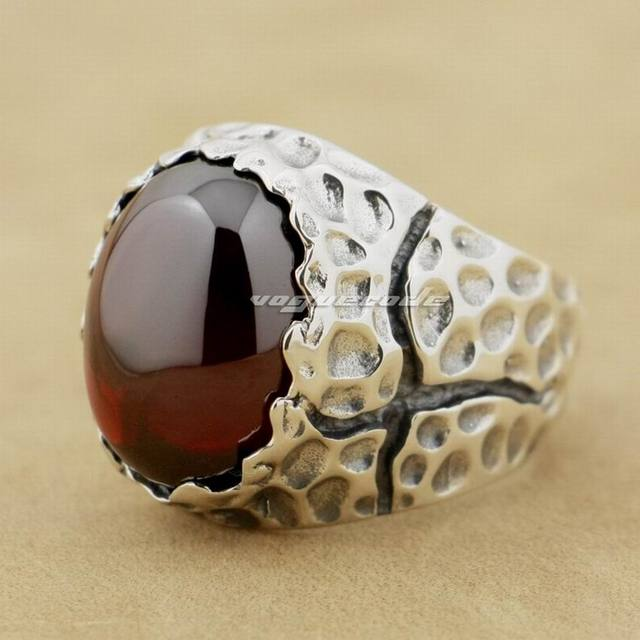 Huge Red CZ Stone 925 Sterling Silver Mens Biker Ring 8Y003