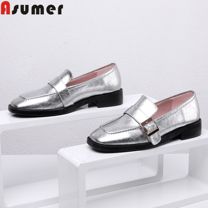 ASUMER 2019 new genuine leather shoes square toe shallow flats shoes women simple comfortable Walking shoes women flatsASUMER 2019 new genuine leather shoes square toe shallow flats shoes women simple comfortable Walking shoes women flats