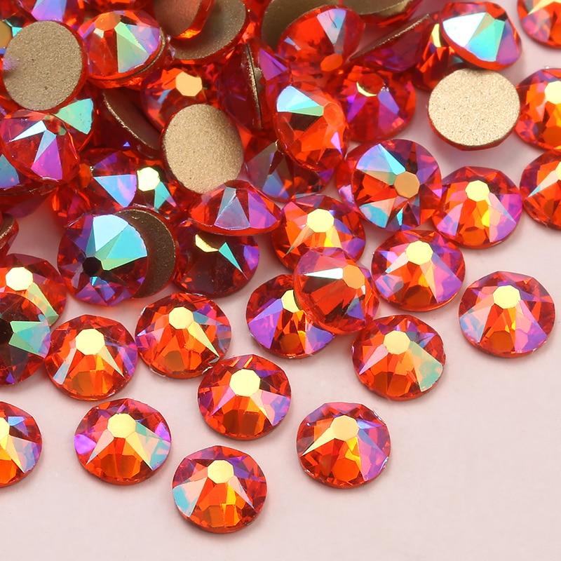 SS20 No Hot Fix Flatbacks R11-004 3mm-5mm Rhinestones SS12 1 Gross144 pieces Orange Hyacinth Glass Rhinestones SS16