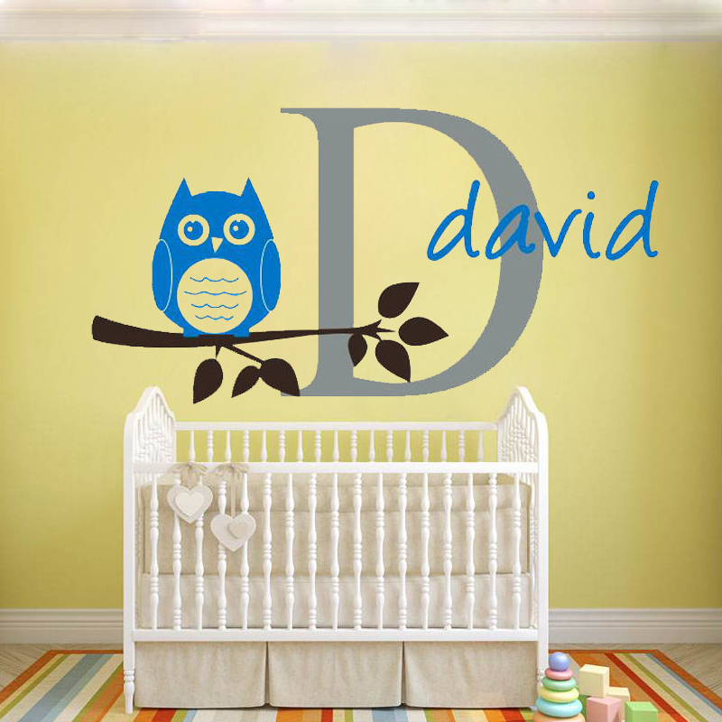 W186 Personalized Custom Name Letter Art Wall Stickers owl branch ...