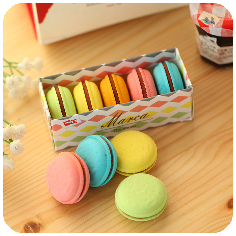 6 Set/Lot Cute Cake Rubber Eraser Macaron Color Pencil Erasers Novelty Stationery Office Accessories School Supplies A6471