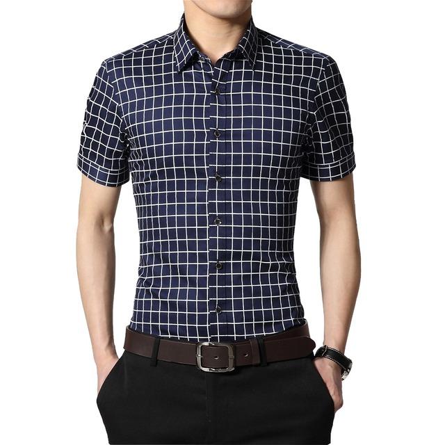 Plus Size 5XL 2016 Nova Verão Teste Padrão da Manta de Algodão Camisas de Vestido Dos Homens de Manga Curta Camisa Formal do Negócio Masculino Camisa Masculina