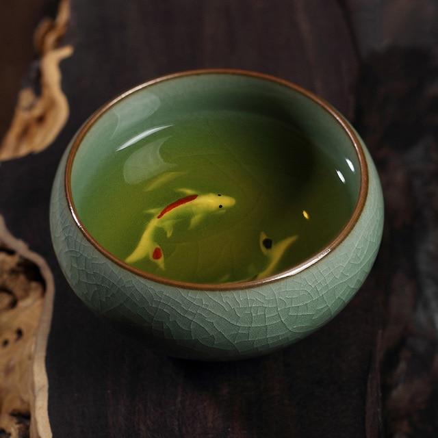 Chinese Longquan Celadon Golden Fish Teacups Tea Maker Cup Caneca China Porcelain Tea Cups Crackle Tea Set