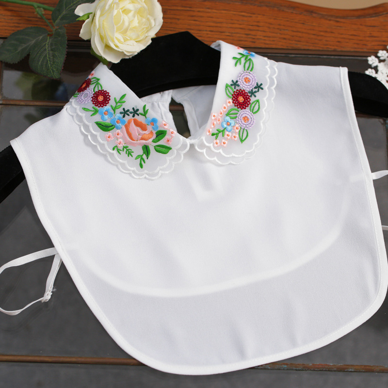 Korea Style Flower Embroidery Collar Sweater False Collar Black And White Necklace Collar For Spring Organza Collar Blouse