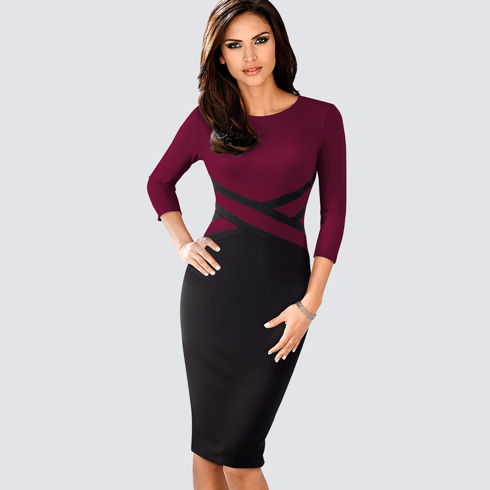 Autumn Women Elegant Patchwork Sheath Bodycon Work Office Business Pencil  Dress 1HB463 8fb22692d75d