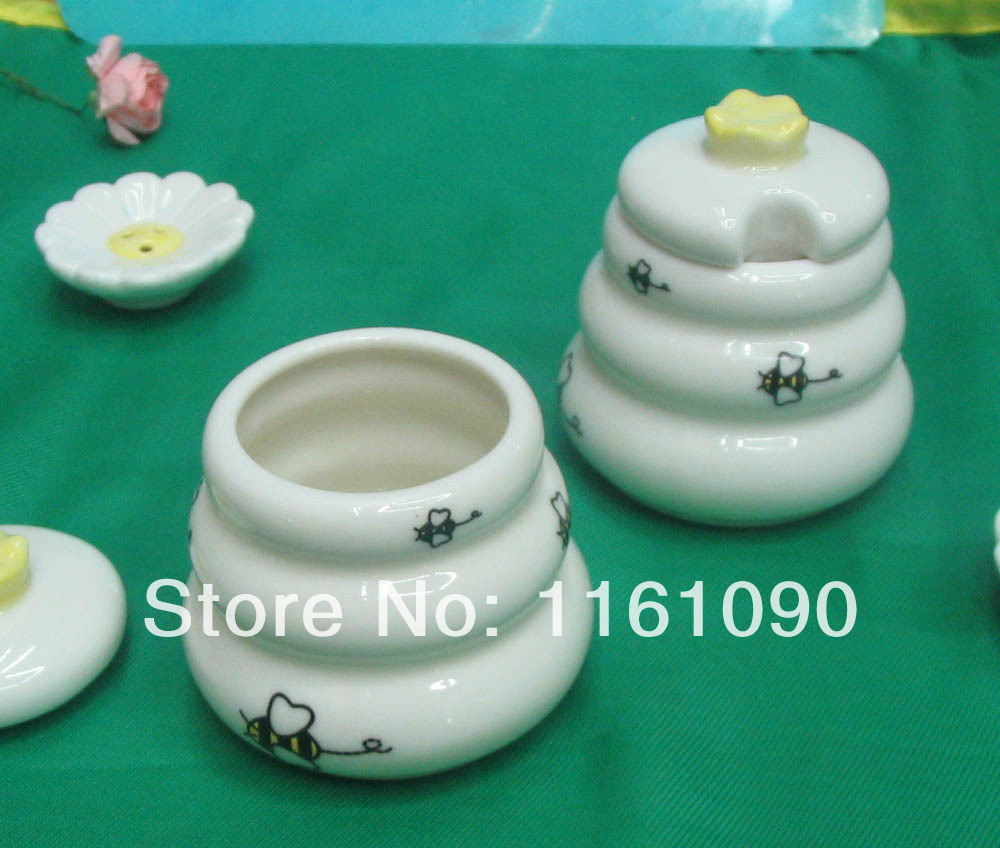 Free Shipping 50pcs Lot Factory Price Meant To Bee Ceramic Honey Pot Wedding Party Favors Baby Shower Return Gifts In Sugar Creamer Pots From Home