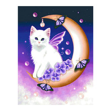 White cat Diamond Painting Full Round cartoon animal New DIY Sticking Drill Cross Embroidery 5D simple Home Decoration dog and cat diamond painting full round animals new diy sticking drill cross embroidery 5d cartoon simple home decoration