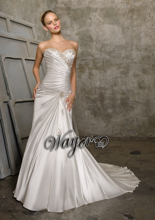 2015hl wd3311 cheap wholesale beautiful sweetheart for Cheap silver wedding dresses