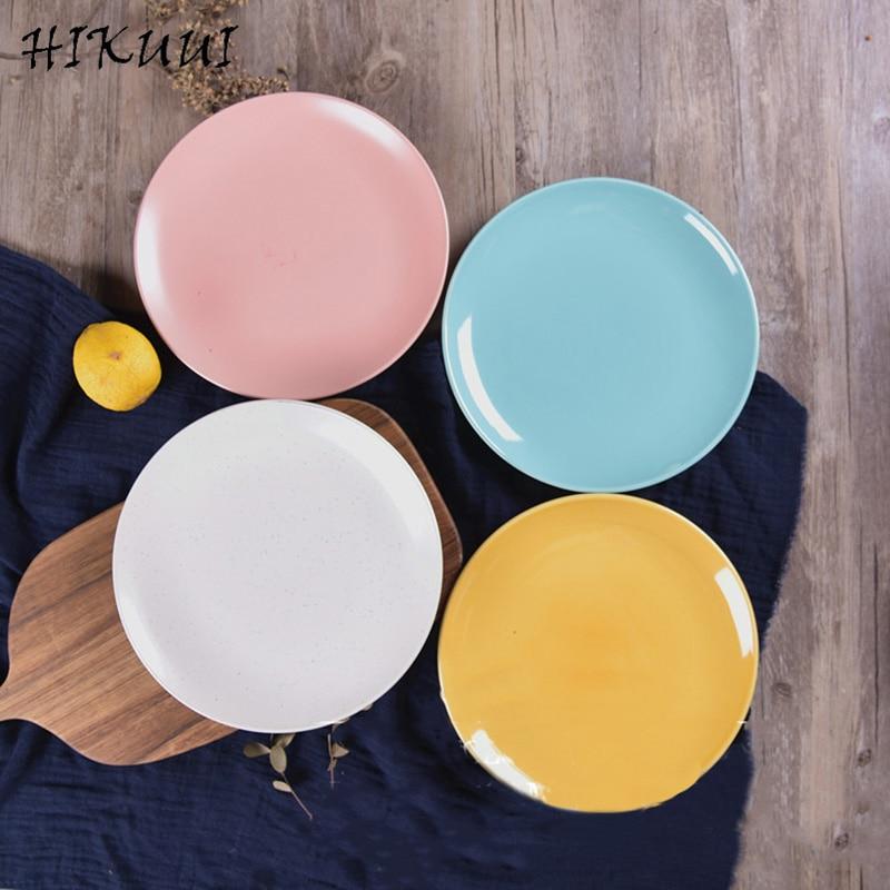 8 Inch Solid Porcelain Steak Fruit Plate Dish Ceramic Dinner Tray Tableware Dinnerware <font><b>Set</b></font> Simple Style