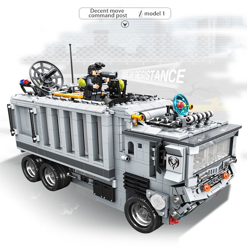 ФОТО Automobile building block decent move command post military series Assembly blocks children's educational toys