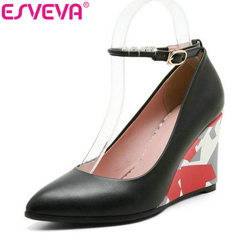 ESVEVA 2017 Black Wedges High Heel Women Pumps Pointed Toe Wedding Women Shoes Spring Autumn White Ankle Strap Pumps Size 34-43 esveva 2017 ankle strap high heel women pumps square heel pointed toe shoes woman wedding shoes genuine leather pumps size 34 39