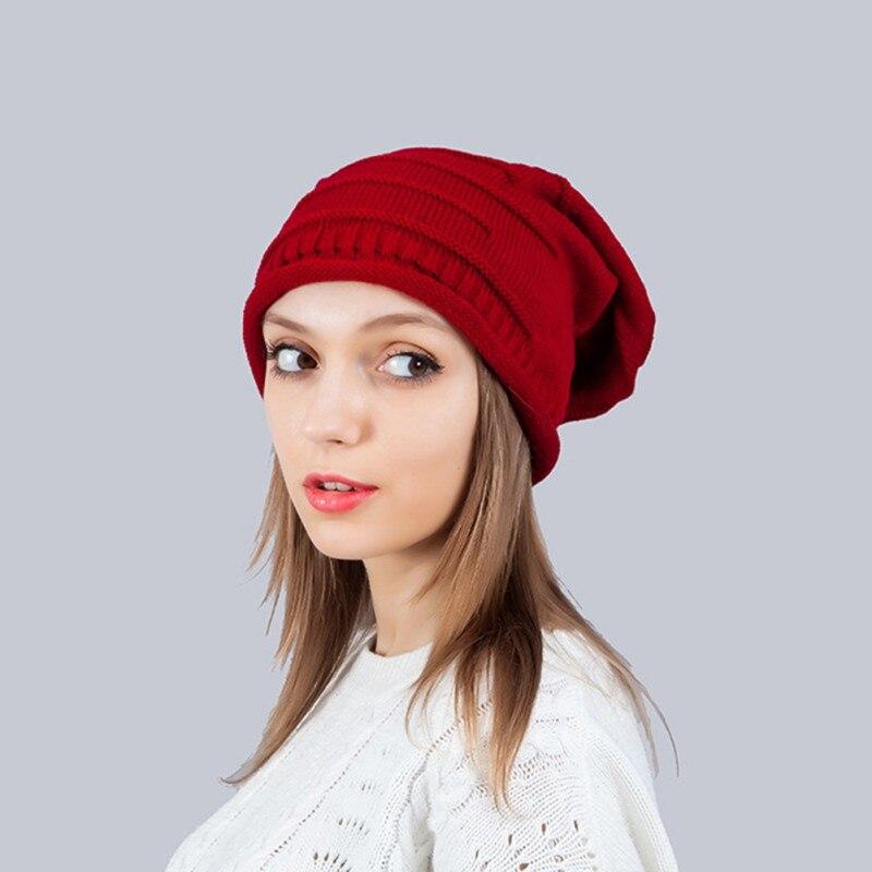 Women Beanies Knitted Printed Caps Slouch Warm Unisex Turban Caps Fashion Bonnet Hats