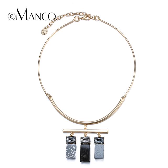 Piedra geométrica resina collar colgante de cristal collares 2016 collar de metal choker collar llamativo colgantes mujer e-manco