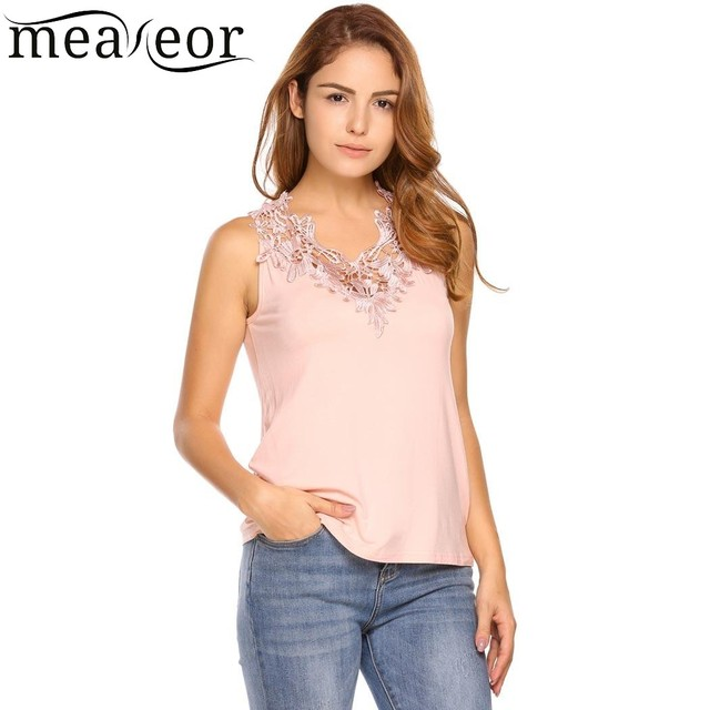 5e87077404e Meaneor Lace Summer T-Shirt Tops Women Sleeveless Back Lace up T-Shirts New  Fashion Solid Female Daily Vest Tops