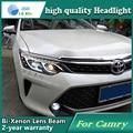 Стайлинга автомобилей случае Головная Лампа для Toyota Camry V55 2015 СВЕТОДИОДНЫЕ Фары DRL Дневного Света Би-Ксеноновые HID аксессуары
