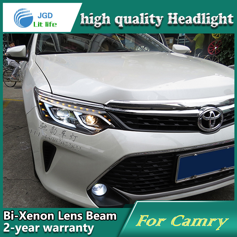 Car Styling Head Lamp case for Toyota Camry V55 2015 LED Headlights DRL Daytime Running Light Bi-Xenon HID Accessories for toyota camry led headlights car styling 2015 for camry xenon headlights led drl light guide bifocal lens headlight light
