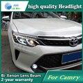 Estilo do carro caso Da Lâmpada de Cabeça para Toyota Camry V55 2015 Bi-Xenon ESCONDEU Faróis de LED DRL Luz de Circulação Diurna acessórios