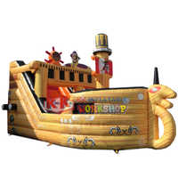Amusement Park Playground Pirate Ship Inflatable Pirate Boat Bouncy Slide