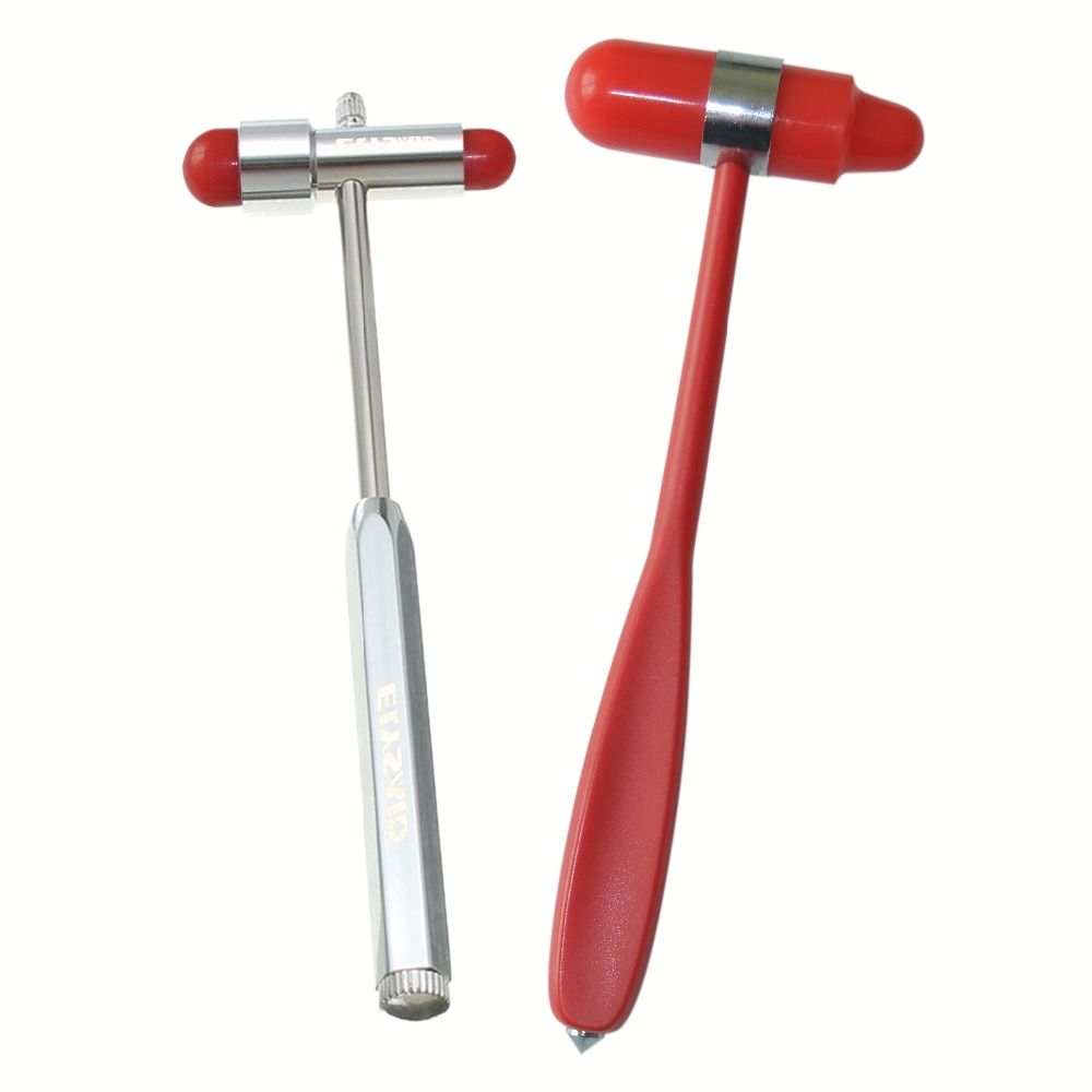 High Quality Red Big Size Medical Nerve Percussion Reflex Hammer With Nail+Small Size Red Stainless Steel Massage Reflex Hammer