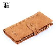 Купить с кэшбэком Designer Retro Leather Long Women's Purse Vintage Hasp Female Clutch Women Wallets 2018 Zipper Organizer Carteira Phone Wallet