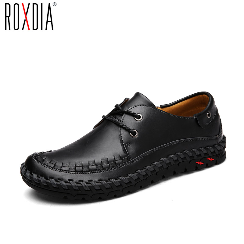 ROXDIA Spring Autumn Genuine Leather Men Causal Shoes Fashion Comfortable Men Driving Moccasins Man Flats Size 39-44 RXM031