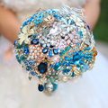 Lake blue brooch bouquet Bridal crystal Wedding Bouquet  custom made Creative Blue & Gold Vintage Bride 's bouquets