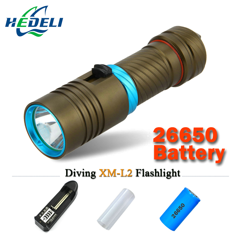 led cree xm-l2 powerful scuba diving flashlight xml l2 archon Hunting Underwater Light rechargeable torch 18650 OR 26650 battery