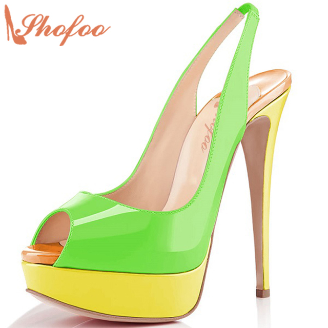 d6233098f351dd Yellow Extreme High Heels Women Sexy Mules Shoes Lolita Platform Shoes  Romyed Pumps Large Size 4-16 Shofoo Blue Green Black