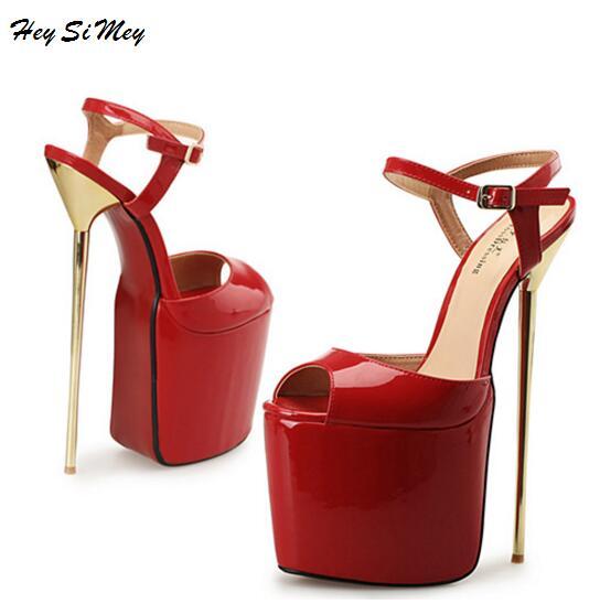 Talons Grande À Femmes Sandales Filles Chaussures Mujer 2018 Sexy Plateforme Cm Hauts D'été Pour rouge Noir Dames 22 blanc Taille qwwXABf