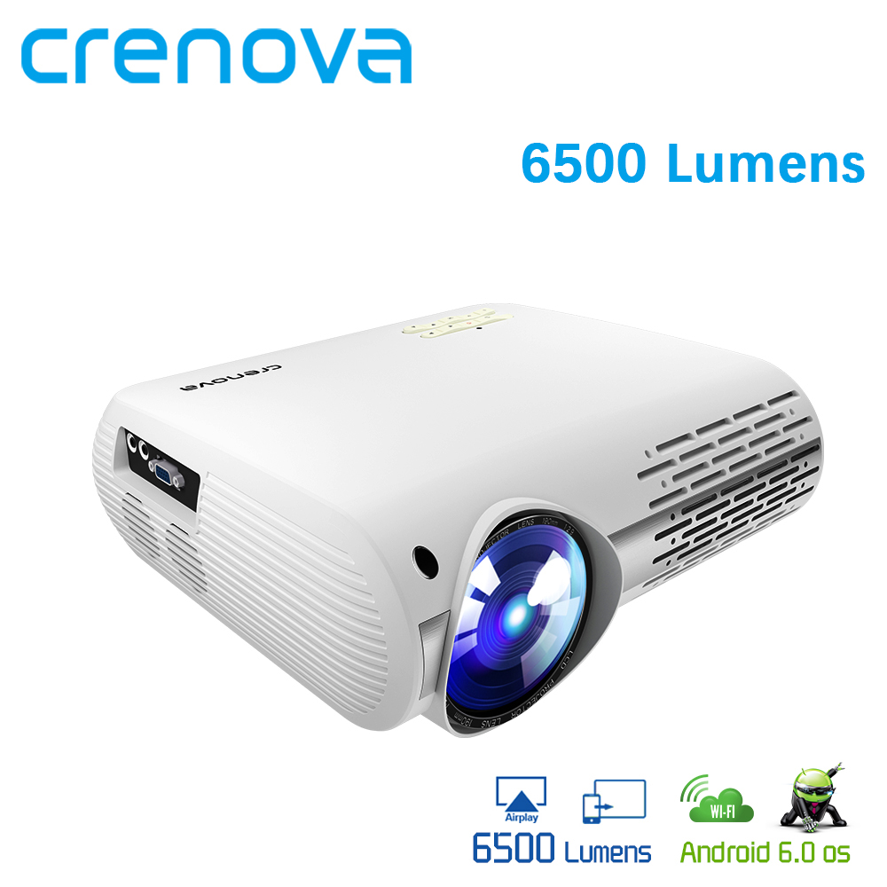 CRENOVA Best Quality 6500 Lumens Android Projector With WIFI Bluetooth Home Theater System Movie Video Projector