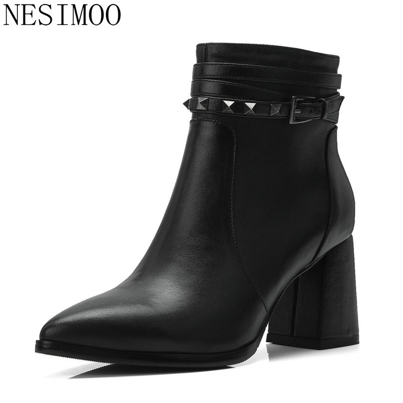 NESIMOO 2019 Women Ankle Boots Casual Winter Shoes Platform Cow Leather+PU All Match Women Motorcycle Boots Big Size 34-39NESIMOO 2019 Women Ankle Boots Casual Winter Shoes Platform Cow Leather+PU All Match Women Motorcycle Boots Big Size 34-39