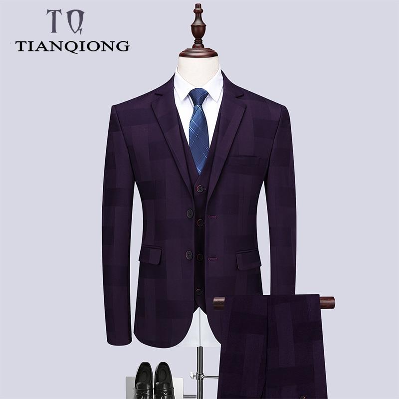 TIAN QIONG Purple Business Men Suits Custom Made Wedding Suits Men's Suit Slim Fit Notched Lapel Grooms Set(jacket+pants+vest)