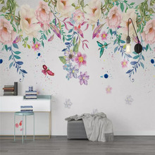 Nordic small fresh hand-painted floral background wall professional production wallpaper murals custom poster photo