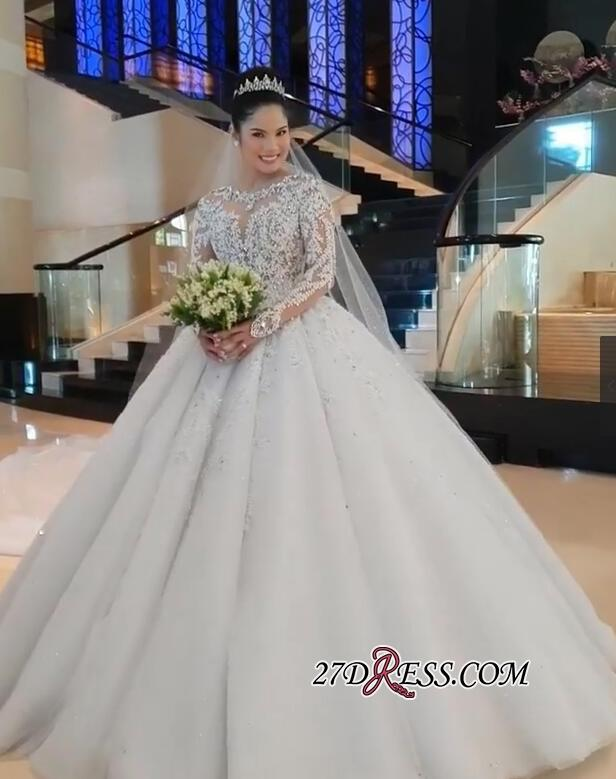 New Design Sheer Neck Wedding Dress 2019 Long Puffy Ball Gown Wedding Dress Lace Appliques  Vintage Bridal Gowns Plus Size