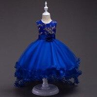 Menthe Vert Court Avant Long Retour Haut Bas Fleur Filles Junior Robes De Mariée Enfants Tailing Pageant Robes Filles Bleu Royal robe