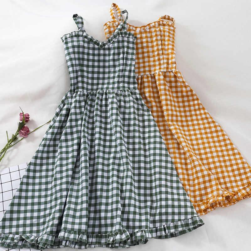 Летнее клетчатое платье женское корейское платье на тонких бретелях Бохо шикарное сексуальное элегантное женское платье вечерние платья vestidos mujer 2019 KJ1799