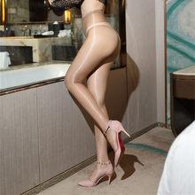 Nova chegada! Meia calça feminina ultrafina e transparente, óleo brilhante, virilha fechada 0813, 1d