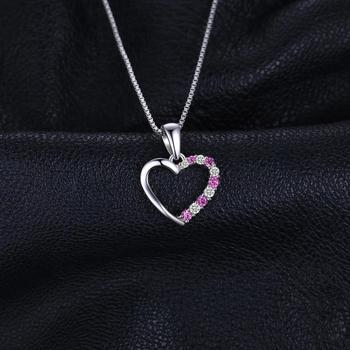 Pink Sapphire Pendant Sterling Silver Gemstones Statement Necklace  1