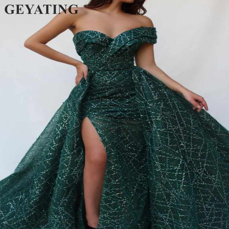 Блестящая Арабская изумрудная зеленая Русалка Выпускные платья Съемная юбка длинное дубайское вечернее платье одно плечо разрезы праздничные наряды