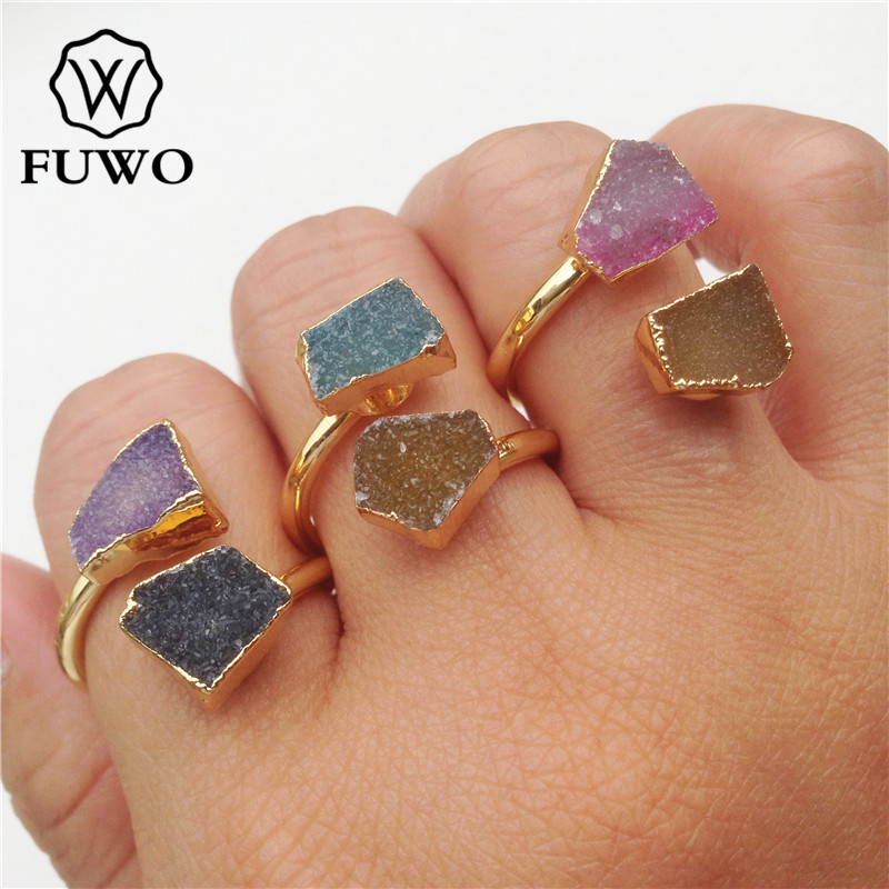 FUWO Irregular Double Stone Druzy Rings With 24K Gold Filled Minimalist design Raw Druzy Rings For