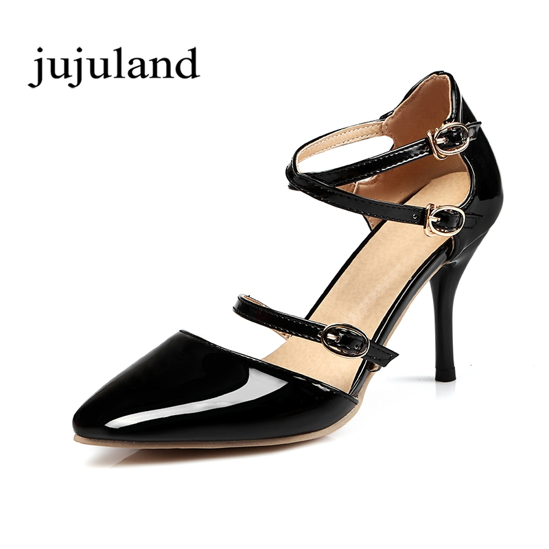 Spring/Autumn Women Shoes Pumps Thin High Heels Pointed Toe Casual Fashion Shallow Solid Patent Leather Buckle Strap Cross-tied women pumps flock high heels shoes woman fashion 2017 summer leather casual shoes ladies pointed toe buckle strap high quality